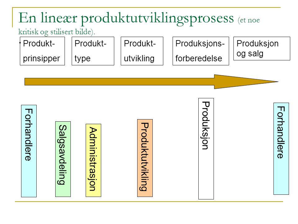 En lineær produktutviklingsprosess (et noe kritisk og stilisert bilde).. Forhandlere Salgsavdeling Administrasjon Produktutvikling Produksjon Produkt-