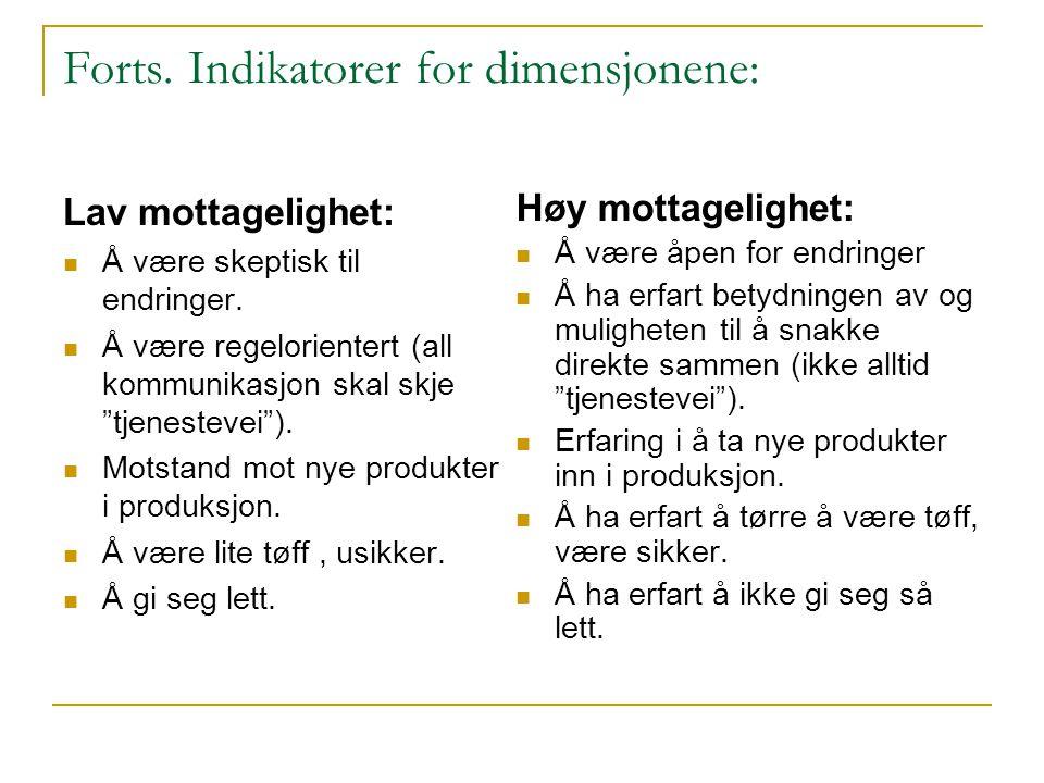 """Forts. Indikatorer for dimensjonene: Lav mottagelighet:  Å være skeptisk til endringer.  Å være regelorientert (all kommunikasjon skal skje """"tjenest"""