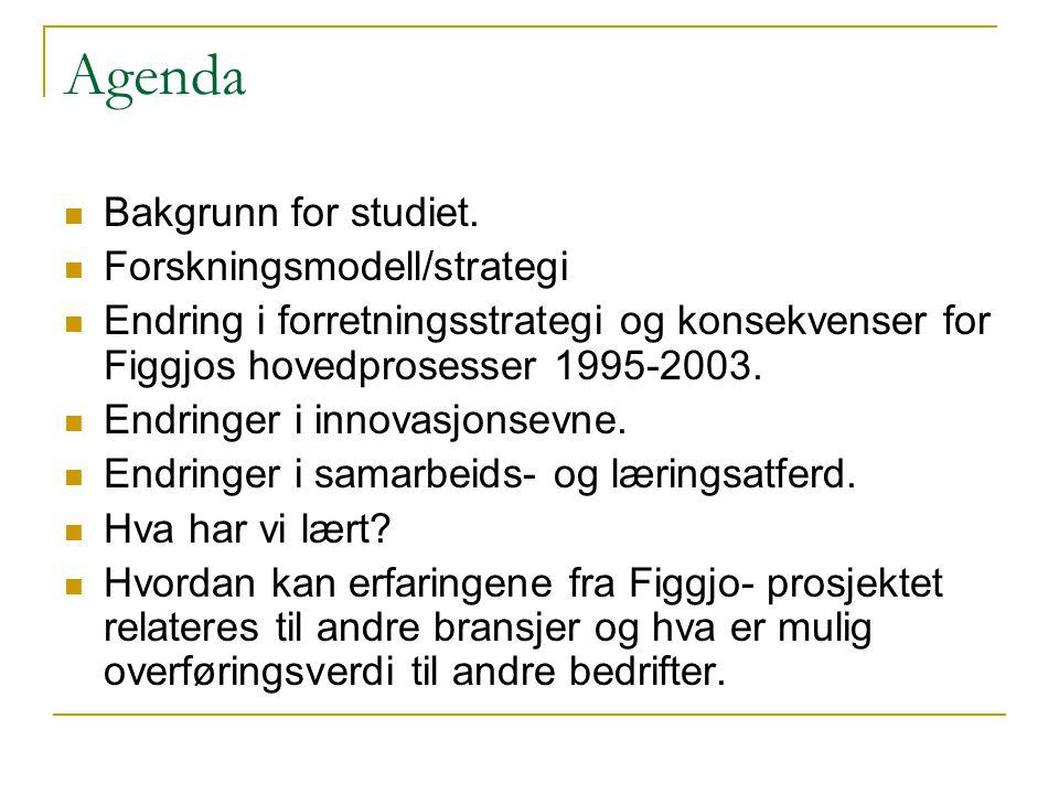 Agenda  Bakgrunn for studiet.  Forskningsmodell/strategi  Endring i forretningsstrategi og konsekvenser for Figgjos hovedprosesser 1995-2003.  End