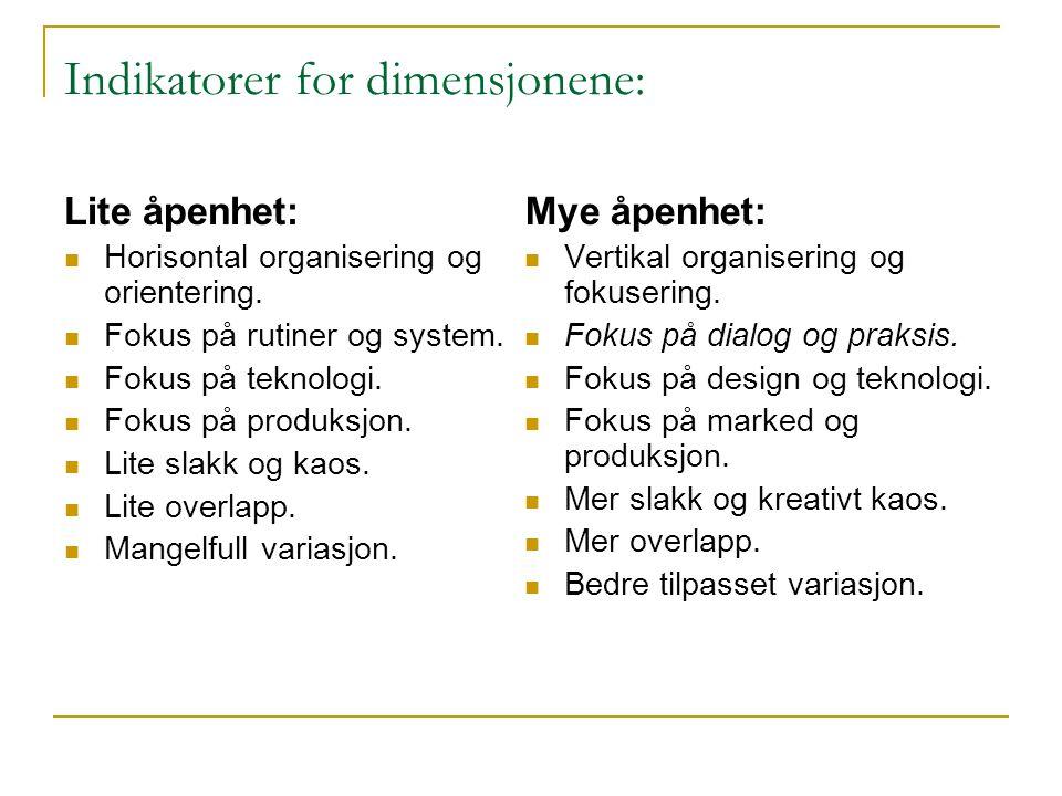Indikatorer for dimensjonene: Lite åpenhet:  Horisontal organisering og orientering.  Fokus på rutiner og system.  Fokus på teknologi.  Fokus på p