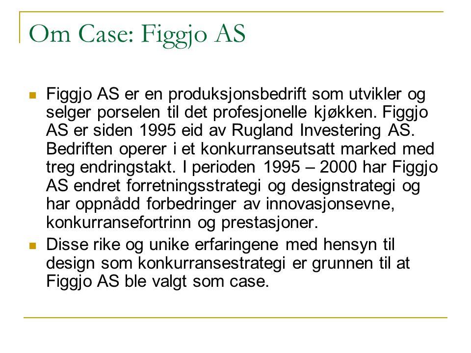Om Case: Figgjo AS  Figgjo AS er en produksjonsbedrift som utvikler og selger porselen til det profesjonelle kjøkken. Figgjo AS er siden 1995 eid av