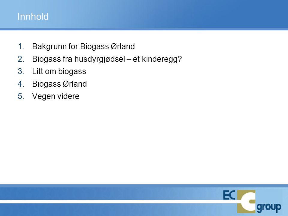 1.Bakgrunn for Biogass Ørland 2.Biogass fra husdyrgjødsel – et kinderegg? 3.Litt om biogass 4.Biogass Ørland 5.Vegen videre Innhold
