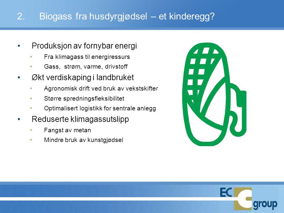 •Produksjon av fornybar energi •Fra klimagass til energiressurs •Gass, strøm, varme, drivstoff •Økt verdiskaping i landbruket •Agronomisk drift ved br