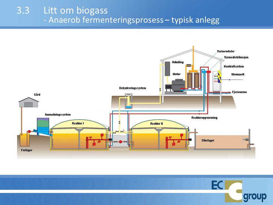 3.3Litt om biogass - Anaerob fermenteringsprosess – typisk anlegg