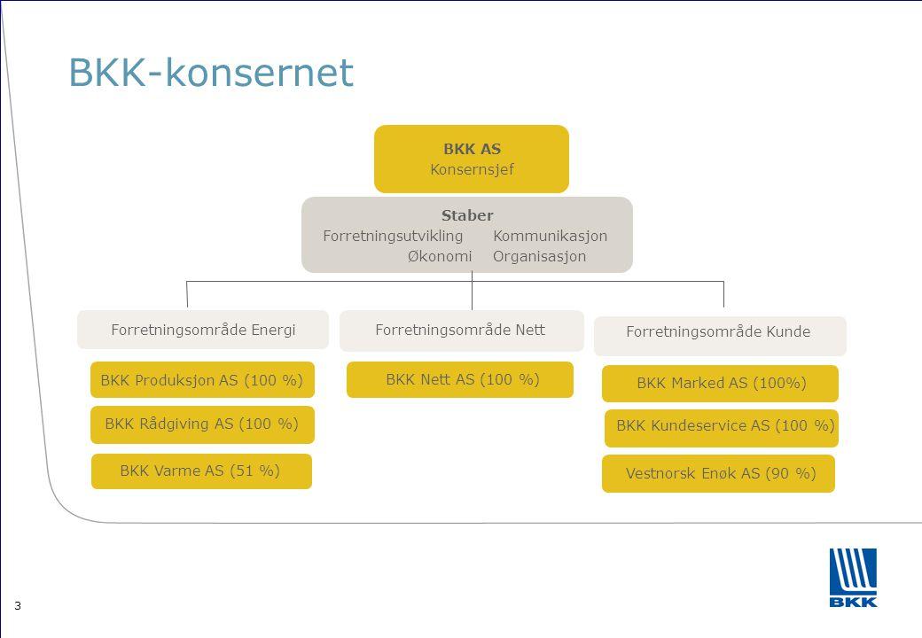 3 BKK-konsernet Staber ForretningsutviklingKommunikasjon ØkonomiOrganisasjon BKK Produksjon AS (100 %) BKK AS Konsernsjef Forretningsområde EnergiForr