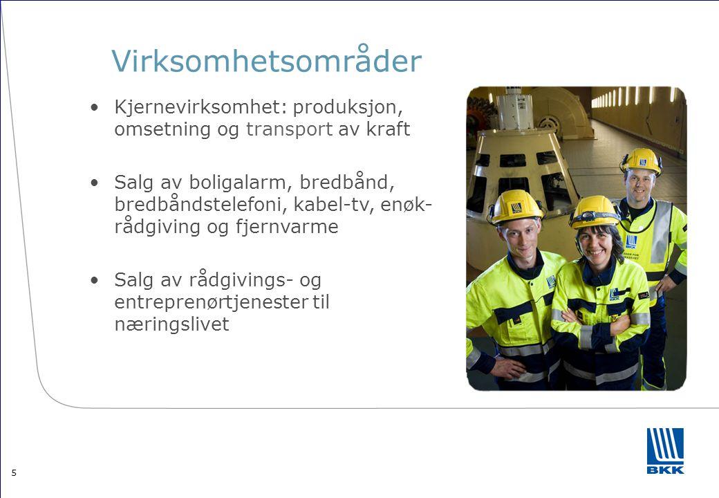 5 Virksomhetsområder •Kjernevirksomhet: produksjon, omsetning og transport av kraft •Salg av boligalarm, bredbånd, bredbåndstelefoni, kabel-tv, enøk-