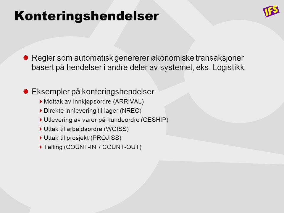 Konteringshendelser  Regler som automatisk genererer økonomiske transaksjoner basert på hendelser i andre deler av systemet, eks. Logistikk  Eksempl