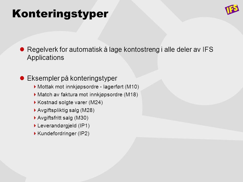 Konteringstyper  Regelverk for automatisk å lage kontostreng i alle deler av IFS Applications  Eksempler på konteringstyper  Mottak mot innkjøpsord
