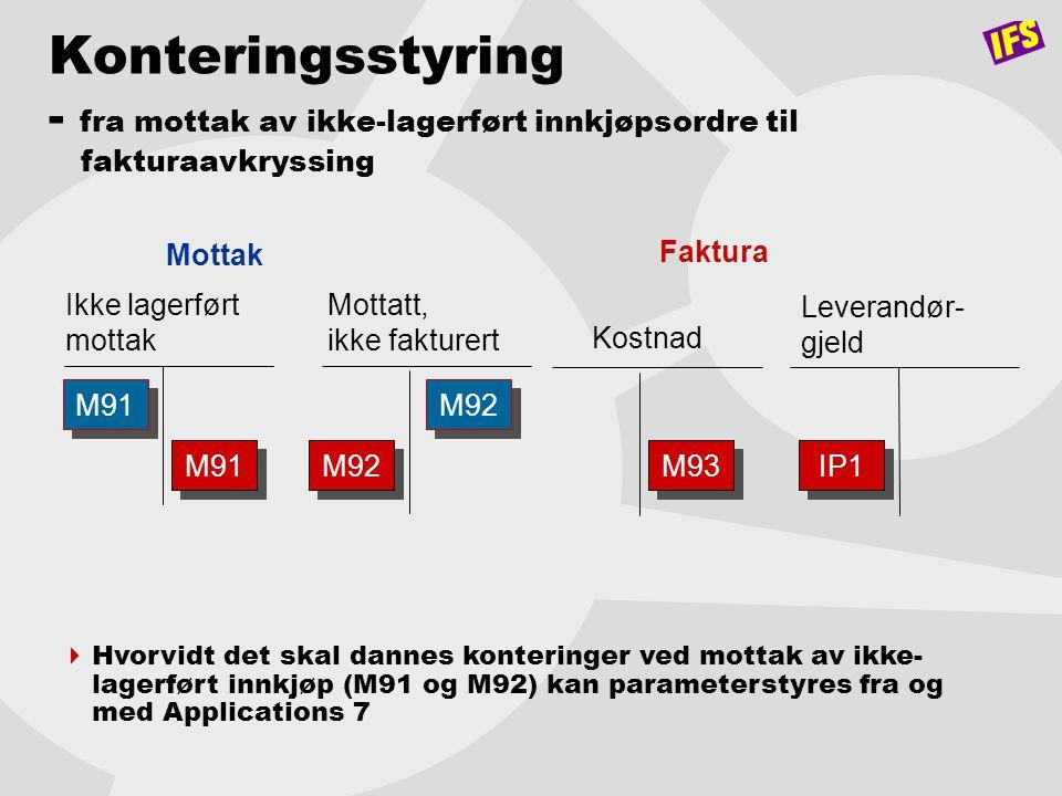 Konteringsstyring - fra mottak av ikke-lagerført innkjøpsordre til fakturaavkryssing Mottatt, ikke fakturert Ikke lagerført mottak M91 M92 Mottak Leve