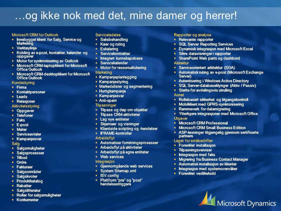 Microsoft CRM for Outlook  Innebygget klient for Salg, Service og Marketing  Verktøylinje  Kobling av e-post, kontakter, kalender og oppgaver  Mot