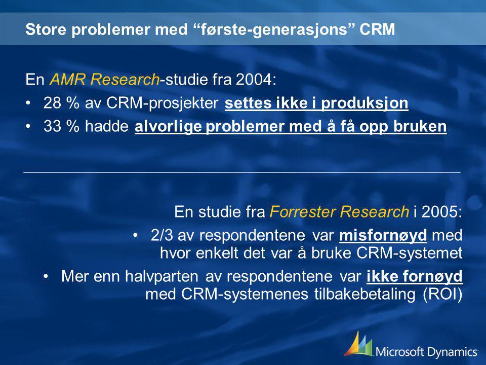 """Store problemer med """"første-generasjons"""" CRM En AMR Research-studie fra 2004: •28 % av CRM-prosjekter settes ikke i produksjon •33 % hadde alvorlige p"""