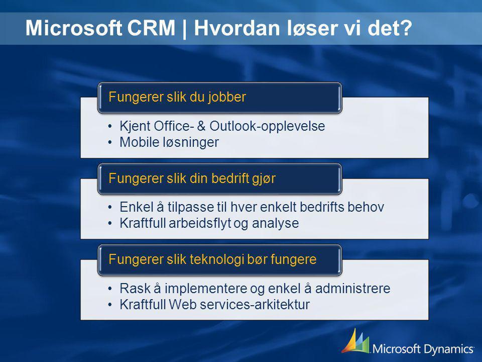 Microsoft CRM | Hvordan løser vi det? •Kjent Office- & Outlook-opplevelse •Mobile løsninger Fungerer slik du jobber •Enkel å tilpasse til hver enkelt