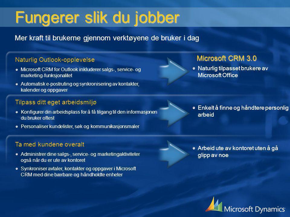 Fungerer slik du jobber Fungerer slik du jobber Naturlig Outlook-opplevelse Administrer hele arbeidsdagen fra én enkelt applikasjon Ta enkelt vare på e- post og korrespondanse Automatisk oppdatering til Outlook Kalender, Kontakter og Oppgaver Microsoft CRM for Outlook