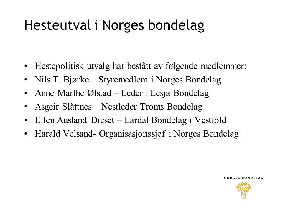 Hesteutval i Norges bondelag •Hestepolitisk utvalg har bestått av følgende medlemmer: •Nils T. Bjørke – Styremedlem i Norges Bondelag •Anne Marthe Øls