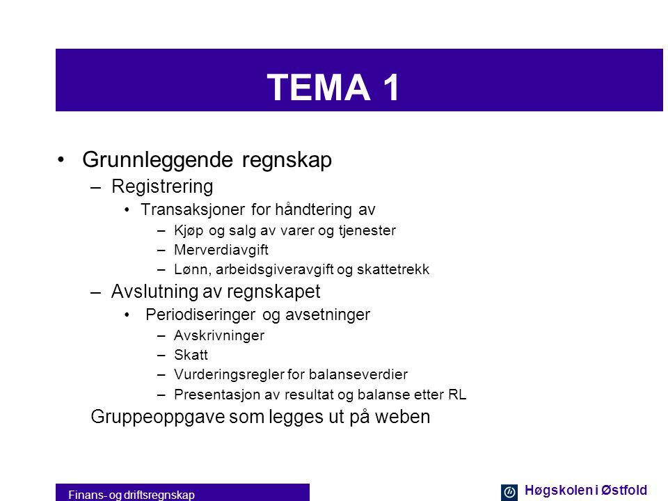 Høgskolen i Østfold Finans- og driftsregnskap Undervisningen Inndelt i fire temaer 1.Grunnleggende regnskap 2.Finansregnskap 3.Økonomisimulator - bedr
