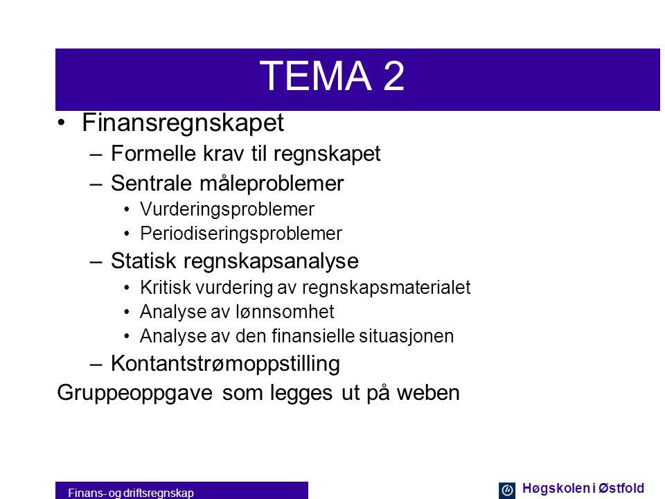 Høgskolen i Østfold Finans- og driftsregnskap TEMA 1 •Grunnleggende regnskap –Registrering •Transaksjoner for håndtering av –Kjøp og salg av varer og