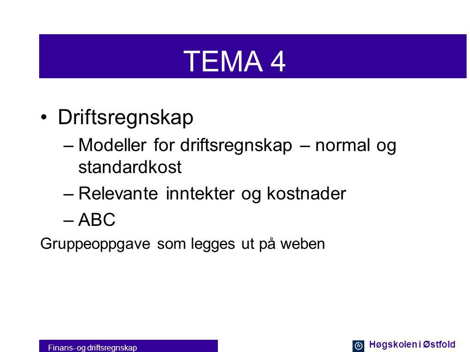 Høgskolen i Østfold Finans- og driftsregnskap TEMA 3 •Økonomisimulator –Bedriftspill –Bruk av regnskapet som aktiv styringsverktøy –Hovedregnskap –Res