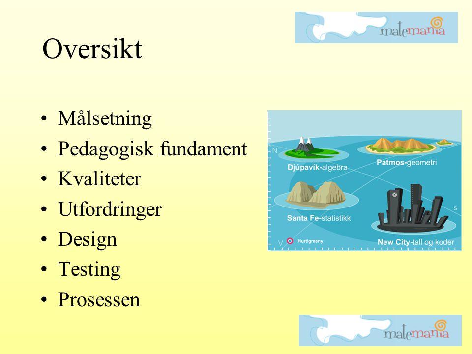 •Målsetning •Pedagogisk fundament •Kvaliteter •Utfordringer •Design •Testing •Prosessen Oversikt