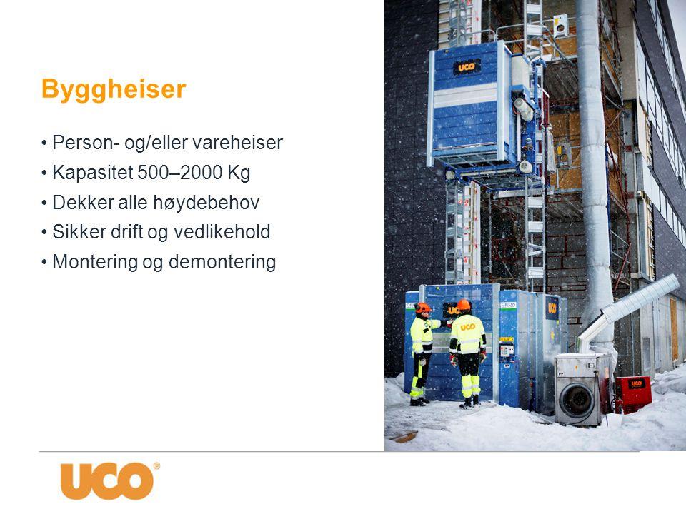 Byggheiser • Person- og/eller vareheiser • Kapasitet 500–2000 Kg • Dekker alle høydebehov • Sikker drift og vedlikehold • Montering og demontering