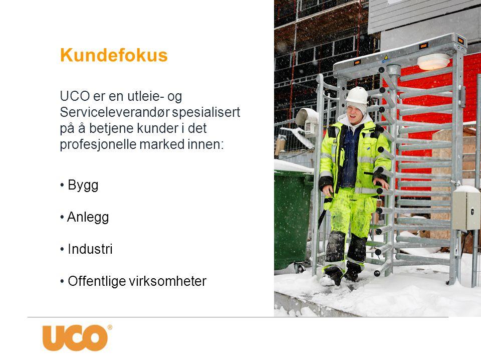 Kundefokus UCO er en utleie- og Serviceleverandør spesialisert på å betjene kunder i det profesjonelle marked innen: • Bygg • Anlegg • Industri • Offe