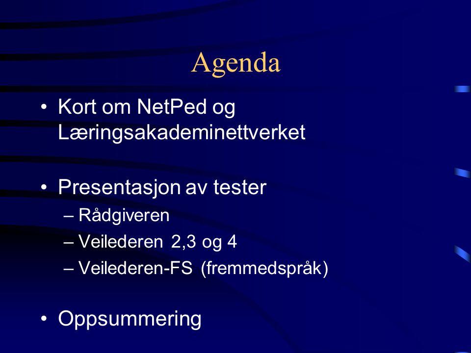 Agenda •Kort om NetPed og Læringsakademinettverket •Presentasjon av tester –Rådgiveren –Veilederen 2,3 og 4 –Veilederen-FS (fremmedspråk) •Oppsummering
