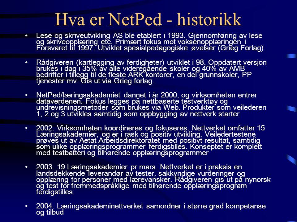 Hva er NetPed - historikk •Lese og skriveutvikling AS ble etablert i 1993.