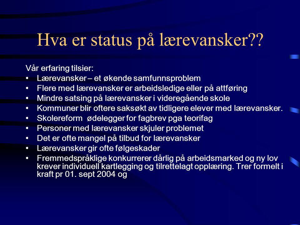 Hva er status på lærevansker?.