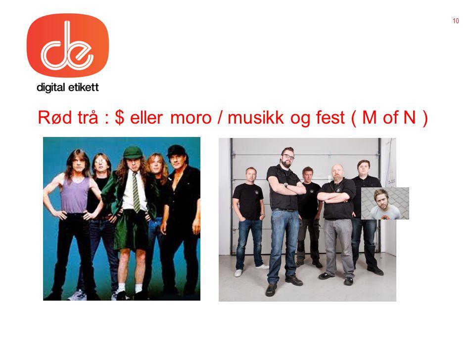 Rød trå : $ eller moro / musikk og fest ( M of N ) 10