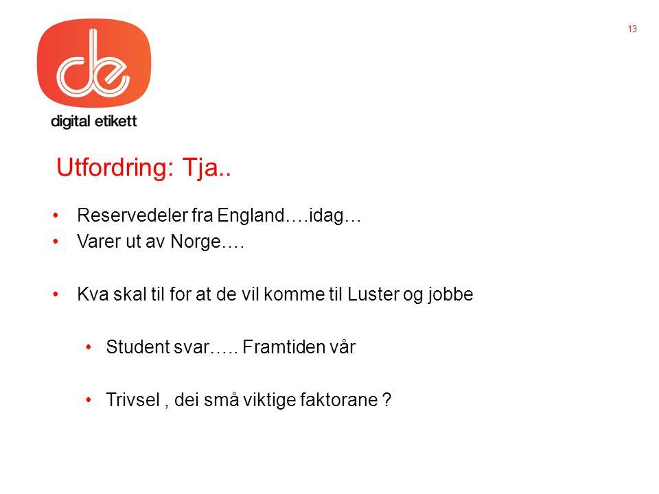Utfordring: Tja.. •Reservedeler fra England….idag… •Varer ut av Norge….