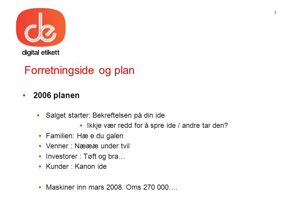 Forretningside og plan •2006 planen •Salget starter: Bekreftelsen på din ide •Ikkje vær redd for å spre ide / andre tar den.