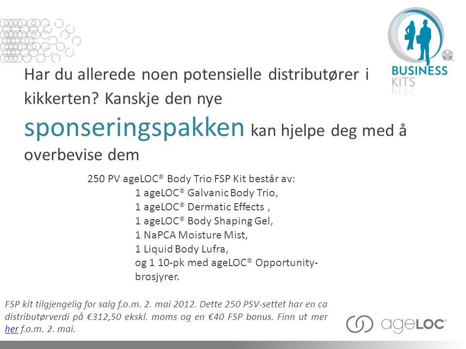 250 PV ageLOC® Body Trio FSP Kit består av: Har du allerede noen potensielle distributører i kikkerten? Kanskje den nye sponseringspakken kan hjelpe d