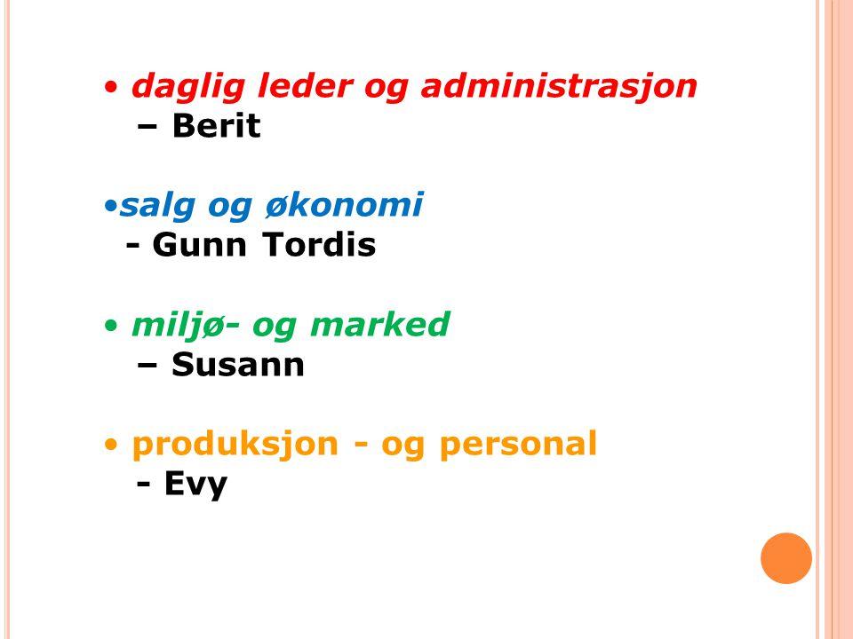 • daglig leder og administrasjon – Berit •salg og økonomi - Gunn Tordis • miljø- og marked – Susann • produksjon - og personal - Evy