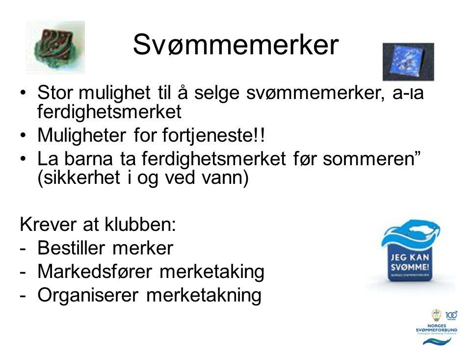 """Svømmemerker •Stor mulighet til å selge svømmemerker, á-lá ferdighetsmerket •Muligheter for fortjeneste!! •La barna ta ferdighetsmerket før sommeren"""""""