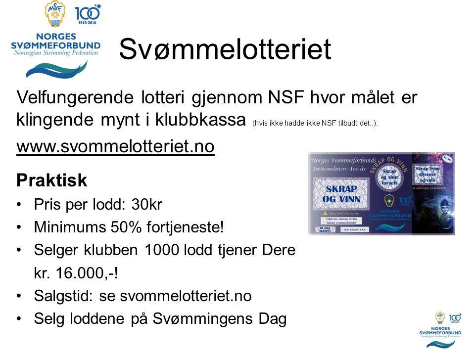 Svømmelotteriet Velfungerende lotteri gjennom NSF hvor målet er klingende mynt i klubbkassa (hvis ikke hadde ikke NSF tilbudt det..): www.svommelotter