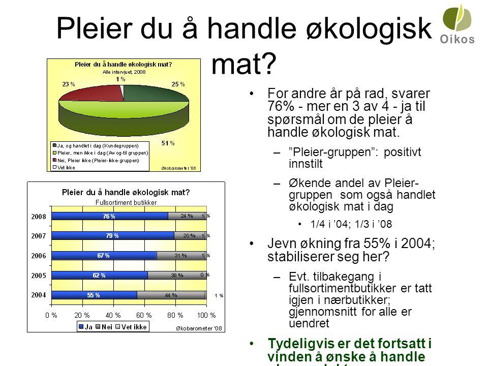 """Pleier du å handle økologisk mat? •For andre år på rad, svarer 76% - mer en 3 av 4 - ja til spørsmål om de pleier å handle økologisk mat. –""""Pleier-gru"""