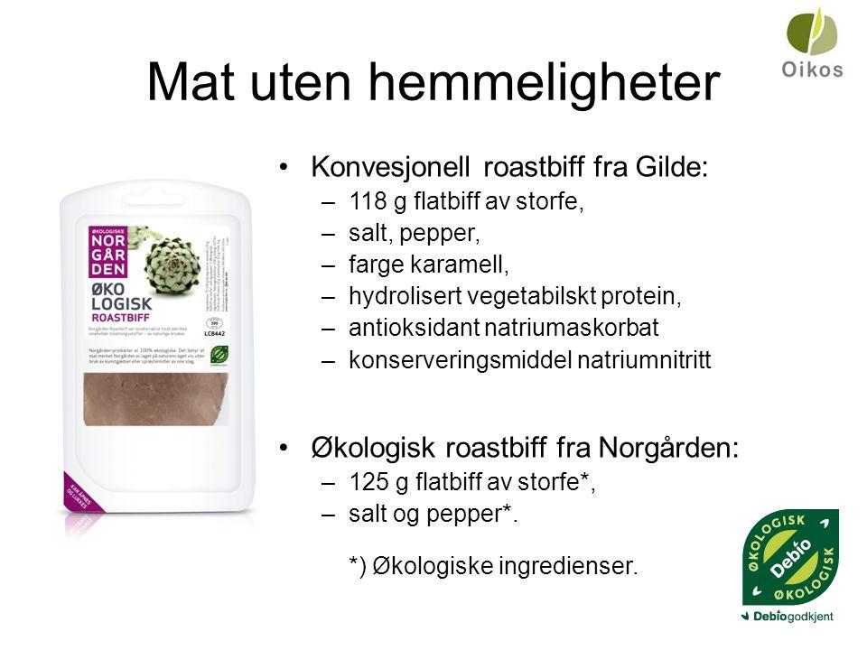Mat uten hemmeligheter •Konvesjonell roastbiff fra Gilde: –118 g flatbiff av storfe, –salt, pepper, –farge karamell, –hydrolisert vegetabilskt protein