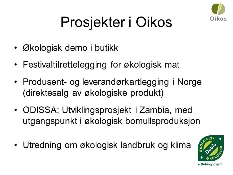 Prosjekter i Oikos •Økologisk demo i butikk •Festivaltilrettelegging for økologisk mat •Produsent- og leverandørkartlegging i Norge (direktesalg av økologiske produkt) •ODISSA: Utviklingsprosjekt i Zambia, med utgangspunkt i økologisk bomullsproduksjon •Utredning om økologisk landbruk og klima