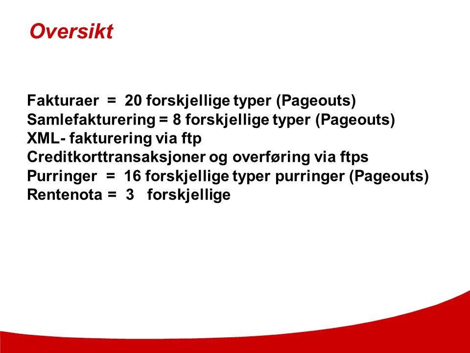 Oversikt Fakturaer = 20 forskjellige typer (Pageouts) Samlefakturering = 8 forskjellige typer (Pageouts) XML- fakturering via ftp Creditkorttransaksjo