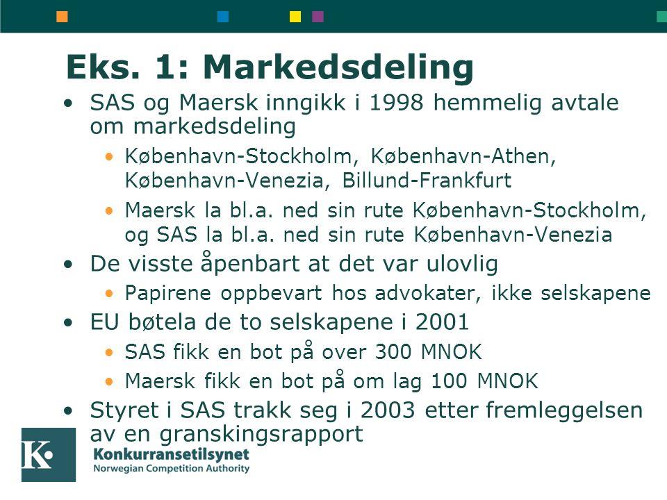Eks. 1: Markedsdeling •SAS og Maersk inngikk i 1998 hemmelig avtale om markedsdeling •København-Stockholm, København-Athen, København-Venezia, Billund