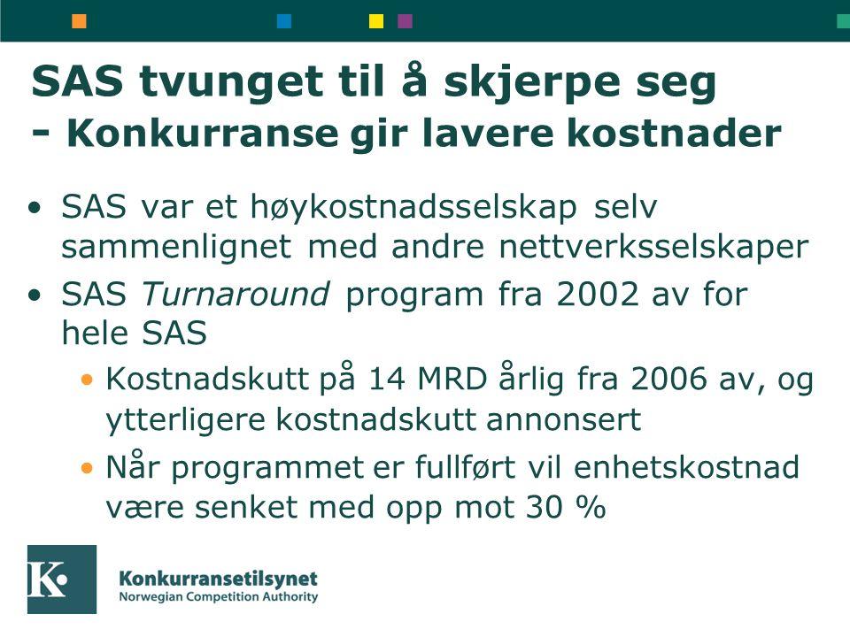 SAS tvunget til å skjerpe seg - Konkurranse gir lavere kostnader •SAS var et høykostnadsselskap selv sammenlignet med andre nettverksselskaper •SAS Tu