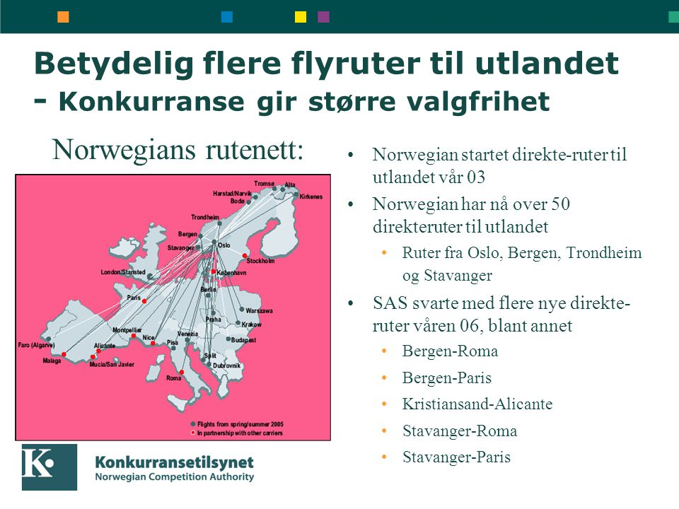 Betydelig flere flyruter til utlandet - Konkurranse gir større valgfrihet •Norwegian startet direkte-ruter til utlandet vår 03 •Norwegian har nå over
