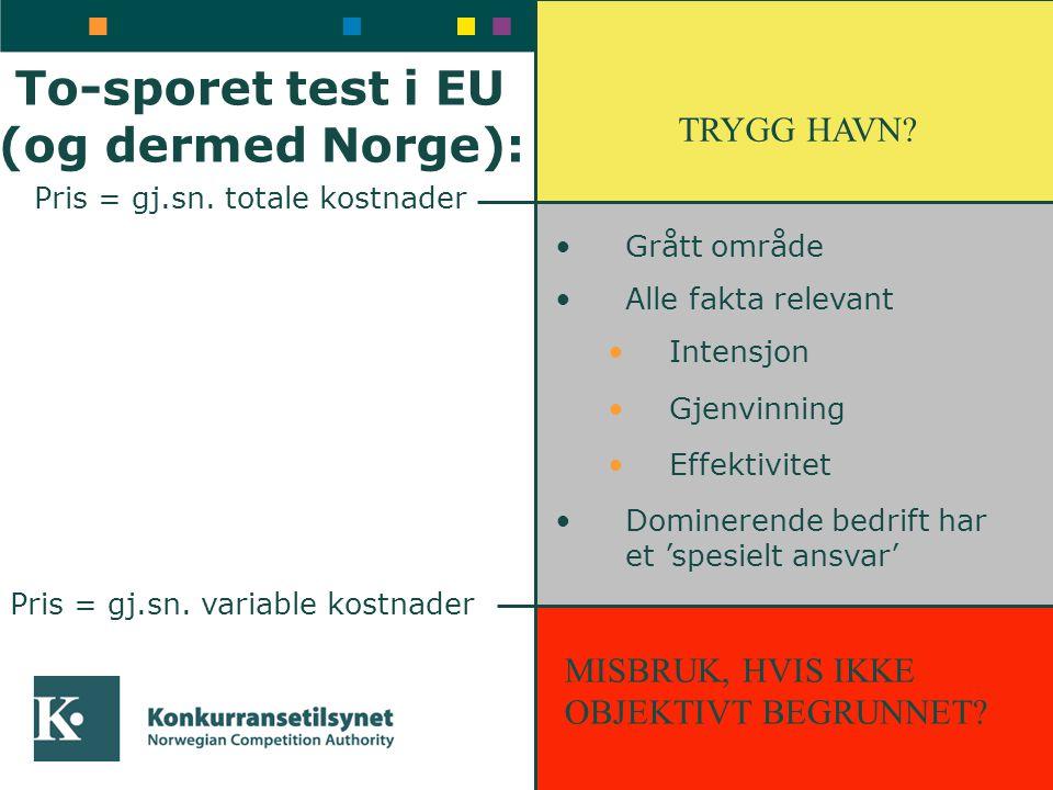 To-sporet test i EU (og dermed Norge): Pris = gj.sn. totale kostnader Pris = gj.sn. variable kostnader TRYGG HAVN? MISBRUK, HVIS IKKE OBJEKTIVT BEGRUN