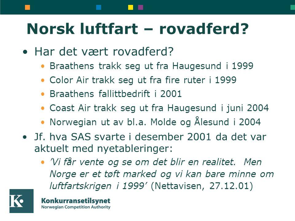 Norsk luftfart – rovadferd? •Har det vært rovadferd? •Braathens trakk seg ut fra Haugesund i 1999 •Color Air trakk seg ut fra fire ruter i 1999 •Braat