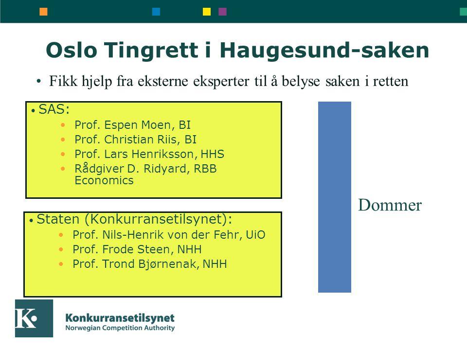 Oslo Tingrett i Haugesund-saken • SAS: •Prof. Espen Moen, BI •Prof. Christian Riis, BI •Prof. Lars Henriksson, HHS •Rådgiver D. Ridyard, RBB Economics