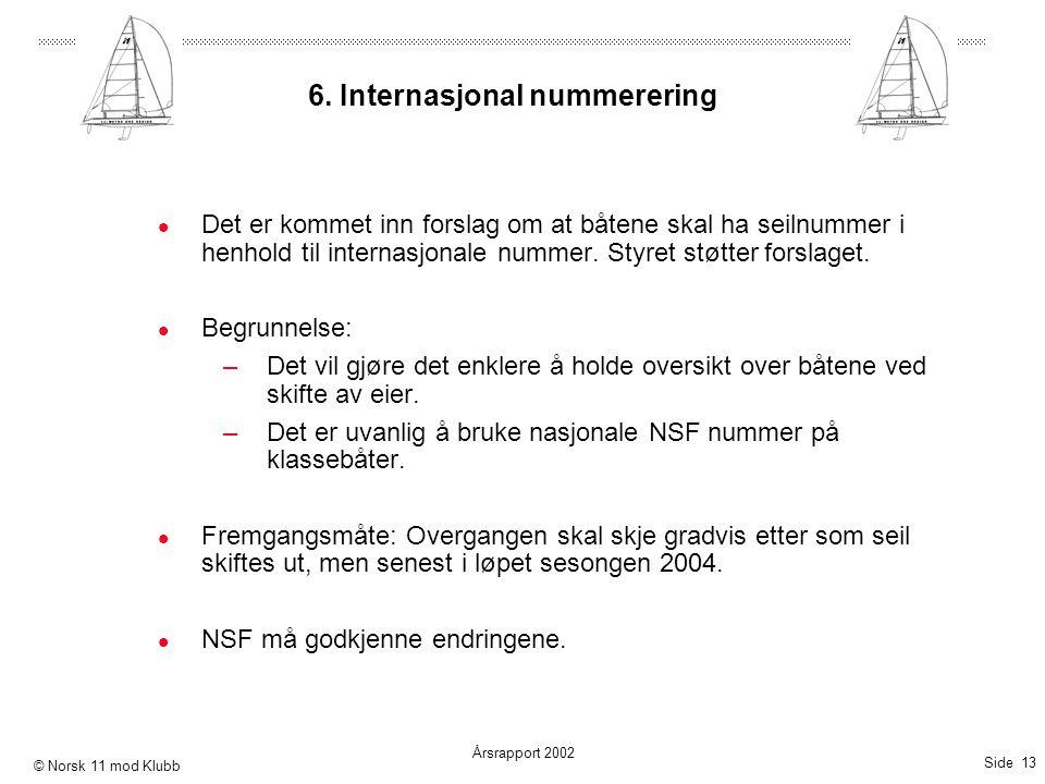 Side 13 Årsrapport 2002 © Norsk 11 mod Klubb 6. Internasjonal nummerering  Det er kommet inn forslag om at båtene skal ha seilnummer i henhold til in