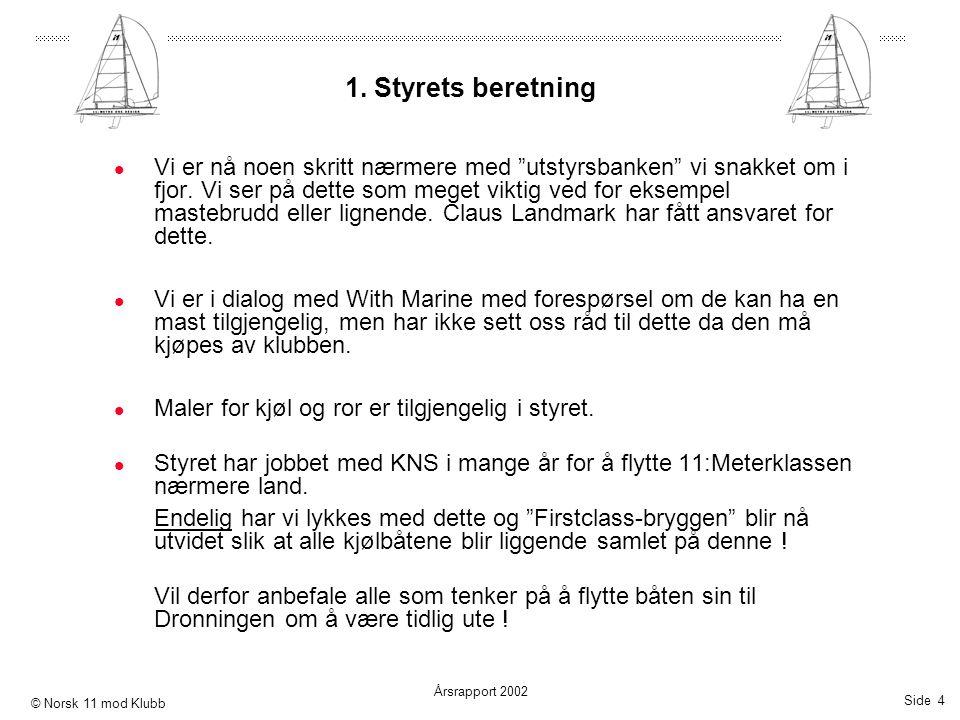 """Side 4 Årsrapport 2002 © Norsk 11 mod Klubb 1. Styrets beretning  Vi er nå noen skritt nærmere med """"utstyrsbanken"""" vi snakket om i fjor. Vi ser på de"""
