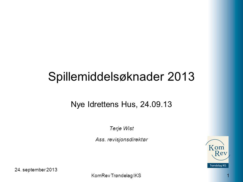 KomRev Trøndelag IKS Spillemiddelsøknader 2013 Nye Idrettens Hus, 24.09.13 Terje Wist Ass.