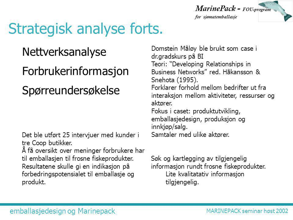 emballasjedesign og Marinepack MARINEPACK seminar høst 2002 MarinePack - FOU-program for sjømatemballasje Strategisk analyse forts.