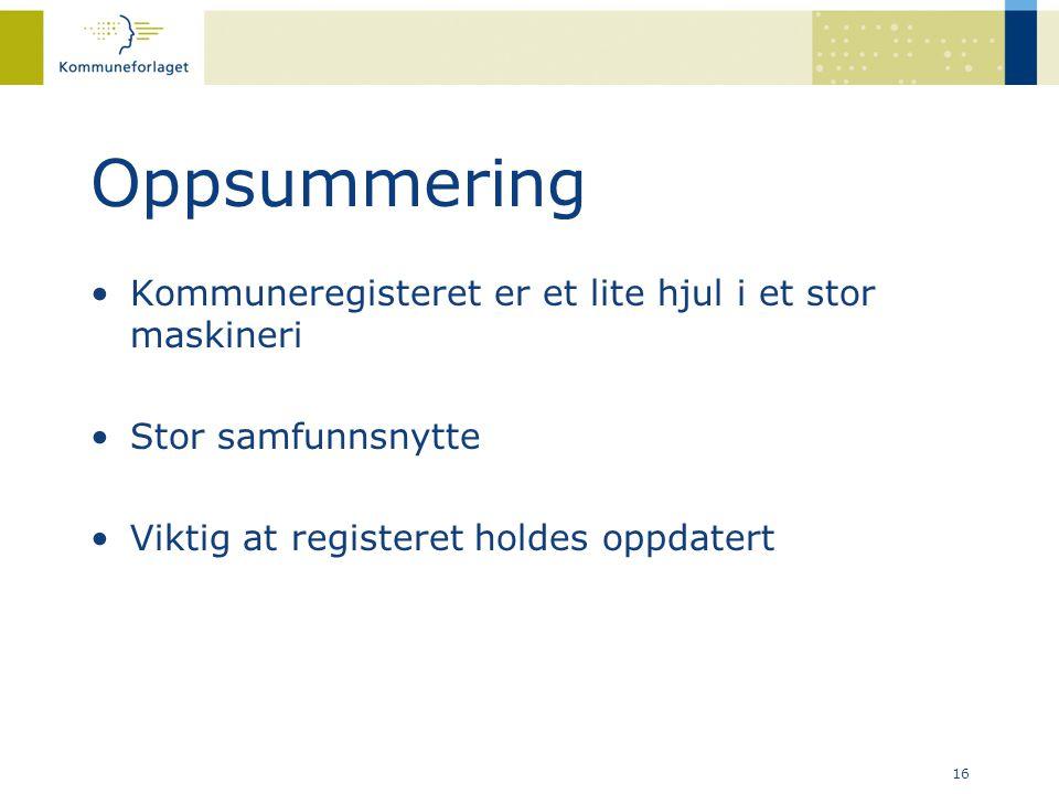 Oppsummering •Kommuneregisteret er et lite hjul i et stor maskineri •Stor samfunnsnytte •Viktig at registeret holdes oppdatert 16