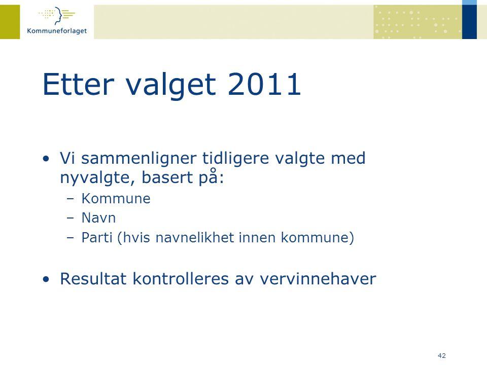 42 Etter valget 2011 •Vi sammenligner tidligere valgte med nyvalgte, basert på: –Kommune –Navn –Parti (hvis navnelikhet innen kommune) •Resultat kontr